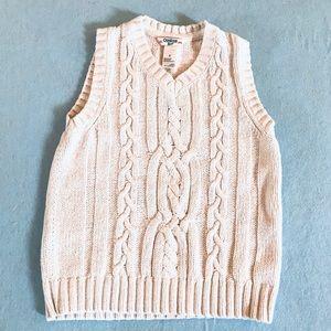 Gymboree boy's white cable knit sweater vest 6